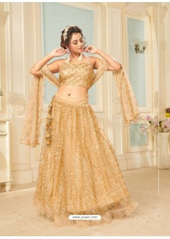 Gold Soft Net Designer Wedding Wear Lehenga Choli