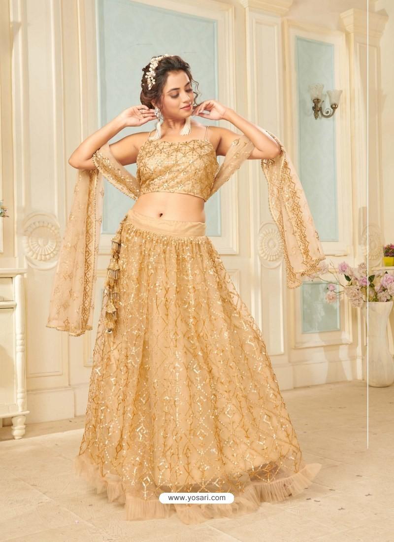 Gold Soft Net Designer Wedding Wear Lehenga Choli