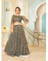 Dark Grey Soft Net Designer Wedding Wear Lehenga Choli
