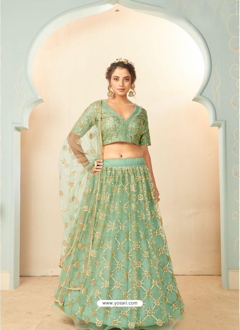 Sea Green Soft Net Designer Wedding Wear Lehenga Choli