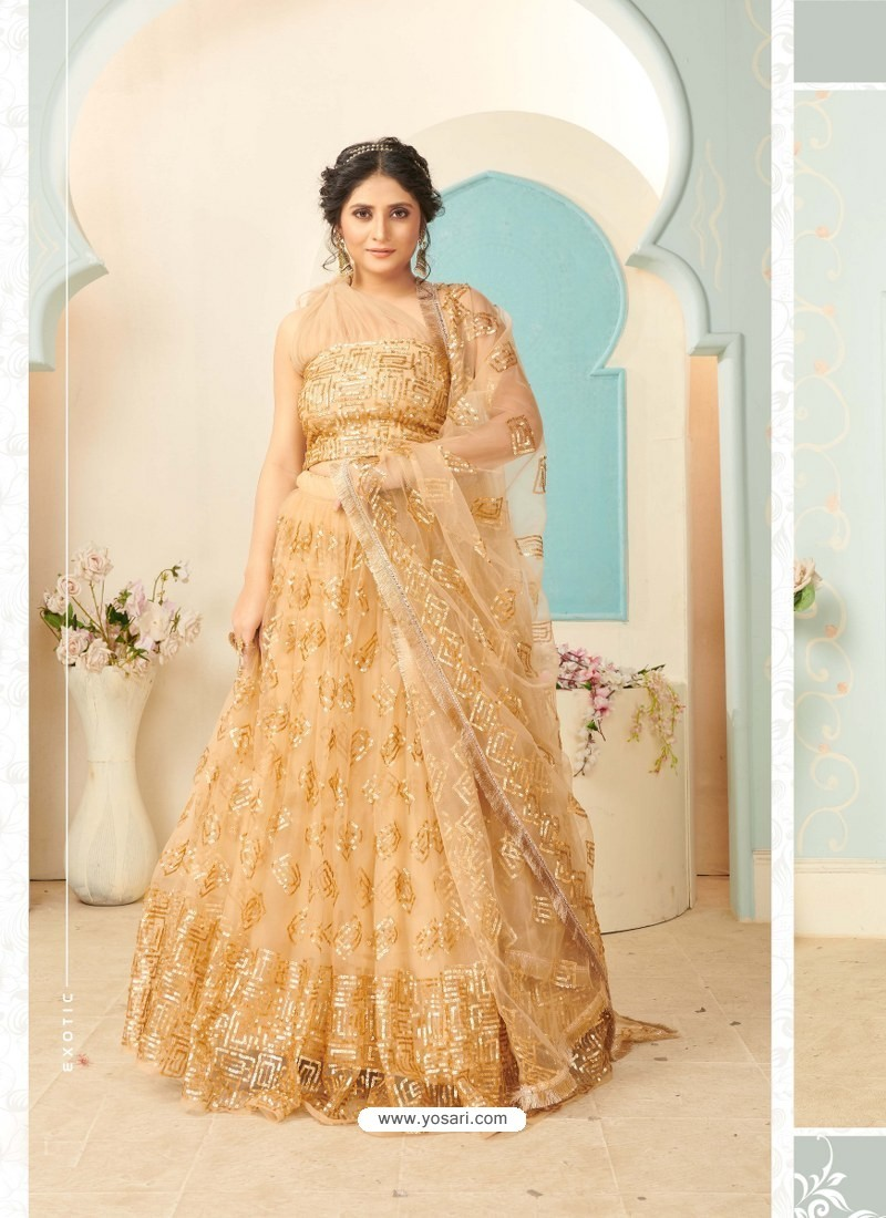 Cream Soft Net Designer Wedding Wear Lehenga Choli