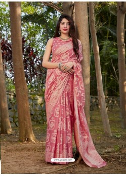 Pink Gorgeous Designer Party Wear Silk Sari