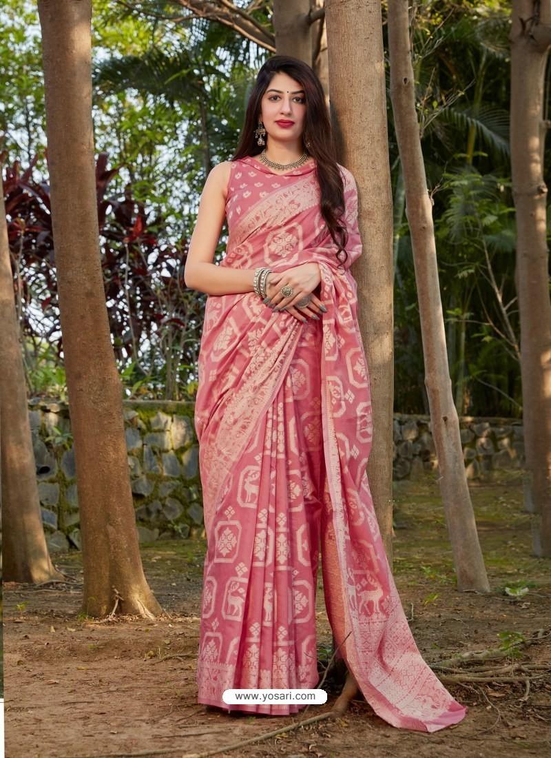 Pink Gorgeous Designer Party Wear Silk Sari