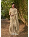 Gold Gorgeous Designer Party Wear Silk Sari