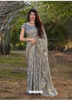 Grey Gorgeous Designer Party Wear Silk Sari