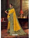 Yellow Gorgeous Heavy Designer Party Wear Dola Silk Sari