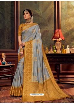 Grey Gorgeous Heavy Designer Party Wear Dola Silk Sari