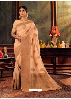 Light Orange Gorgeous Heavy Designer Party Wear Dola Silk Sari