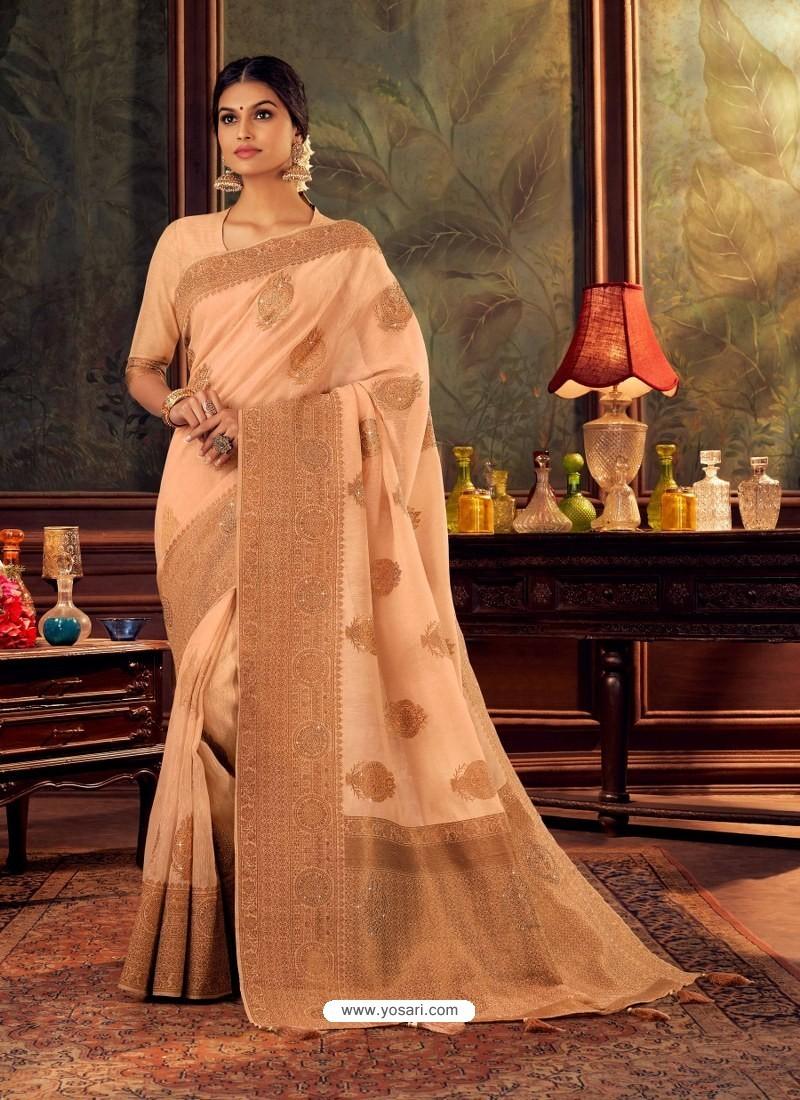 Light Orange Gorgeous Heavy Designer Party Wear Dola Silk Sari