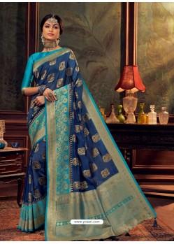 Dark Blue Gorgeous Heavy Designer Party Wear Dola Silk Sari