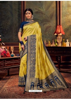 Yellow Gorgeous Heavy Designer Party Wear Dola Silk Sari