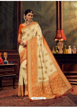 Cream Gorgeous Heavy Designer Party Wear Dola Silk Sari