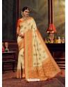 Cream Gorgeous Heavy Designer Party Wear Dola Silk Sari