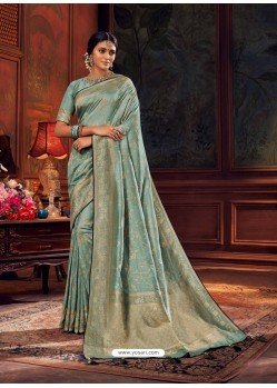 Aqua Grey Gorgeous Heavy Designer Party Wear Dola Silk Sari