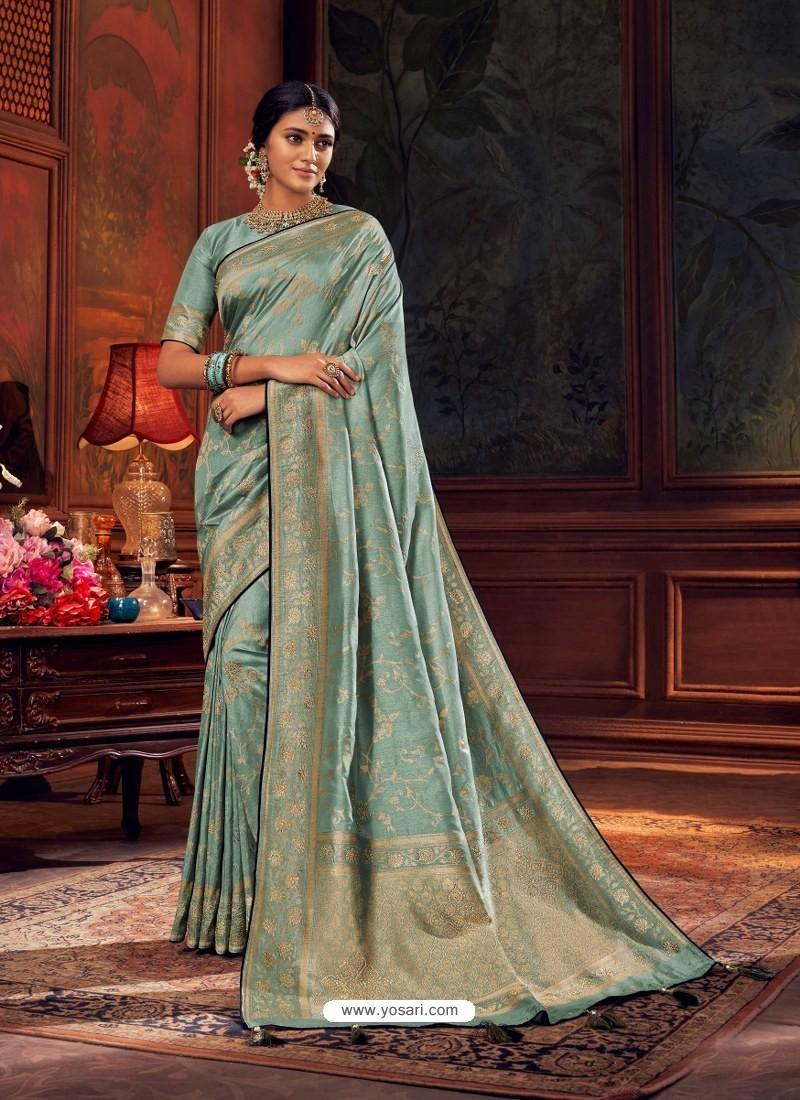 Aqua Grey Gorgeous Heavy Designer Party Wear Dola Silk Sari