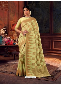 Lemon Gorgeous Heavy Designer Party Wear Dola Silk Sari