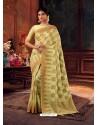 Lemon Gorgeous Heavy Designer Party Wear Dola Silk Sari