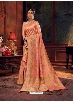 Peach Gorgeous Heavy Designer Party Wear Dola Silk Sari