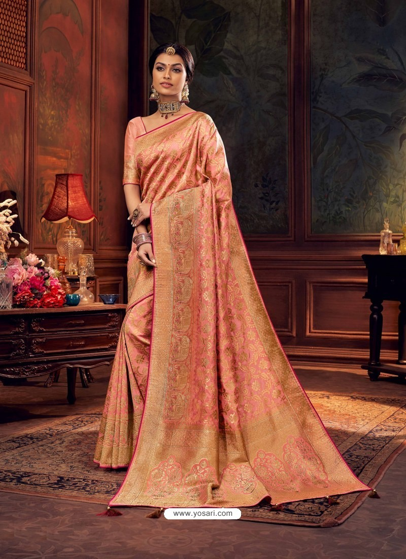 Peach Gorgeous Heavy Designer Party Wear Dola Silk Sari