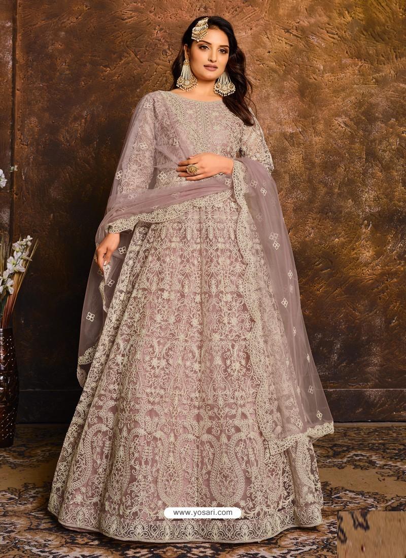 Dusty Pink Latest Heavy Designer Party Wear Anarkali Suit