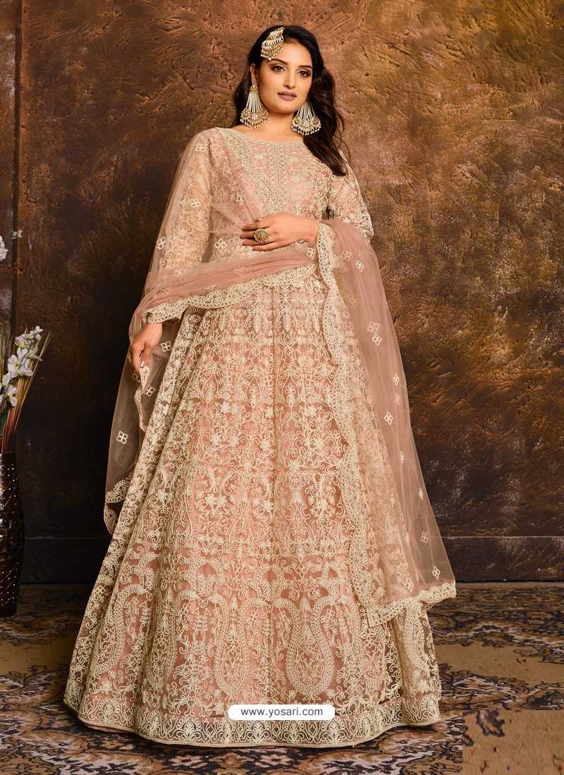 Light Orange Latest Heavy Designer Party Wear Anarkali Suit