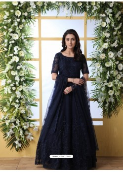 Navy Blue Stunning Heavy Designer Gown Style Party Wear Anarkali Suit