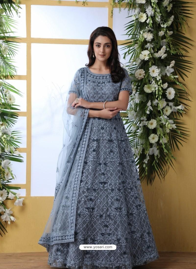 Grey Stunning Heavy Designer Gown Style Party Wear Anarkali Suit