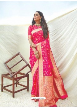 Fuchsia Latest Designer Classic Wear Silk Sari