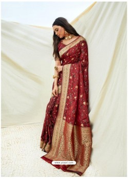 Maroon Latest Designer Classic Wear Silk Sari
