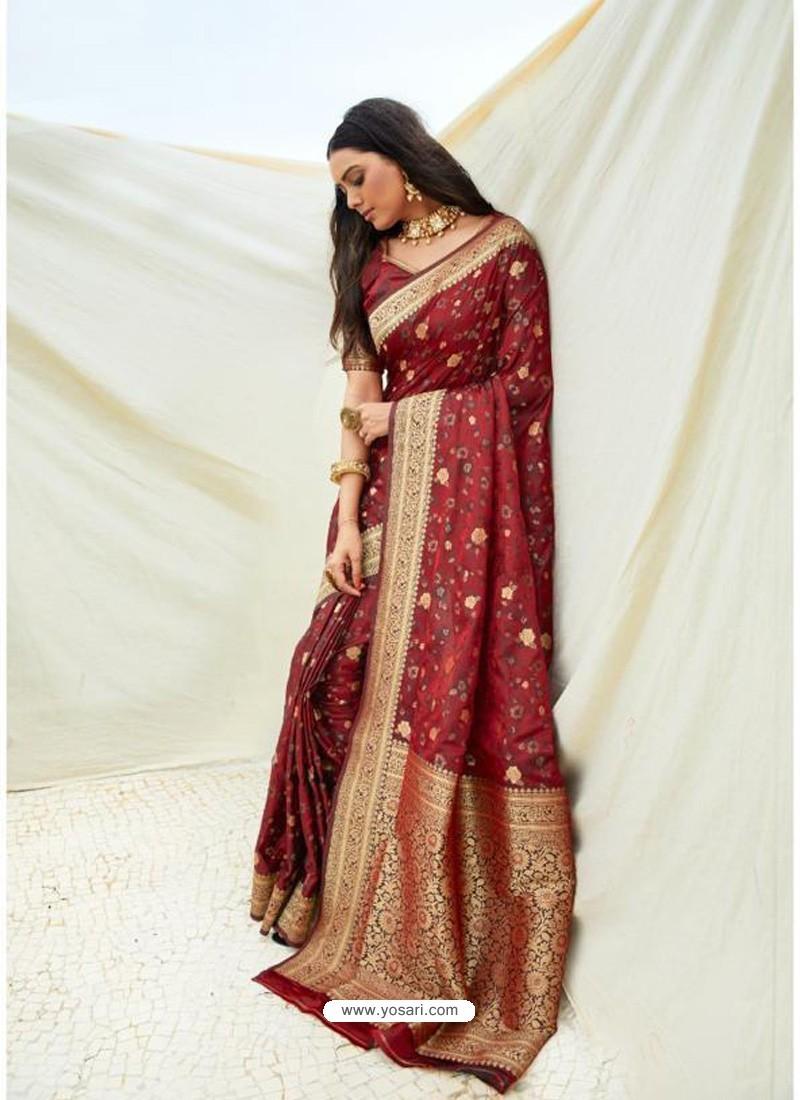 Maroon Latest Designer Classic Wear Silk Sari
