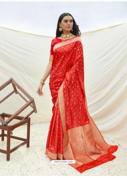 Red Latest Designer Classic Wear Silk Sari
