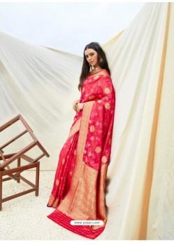 Rose Red Latest Designer Classic Wear Silk Sari