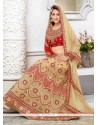Bewitching Cream Embroidered Work Georgette A Line Lehenga Choli