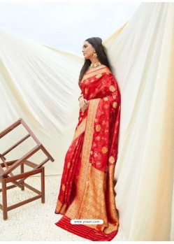 Tomato Red Latest Designer Classic Wear Silk Sari