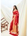 Tomato Red Latest Designer Classic Wear Silk Sari