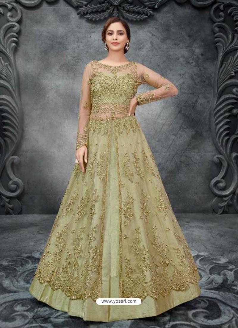 Green Latest Heavy Designer Party Wear Anarkali Suit