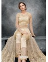 Gold Latest Heavy Designer Party Wear Anarkali Suit