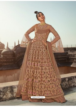 Beige Latest Heavy Designer Party Wear Anarkali Suit