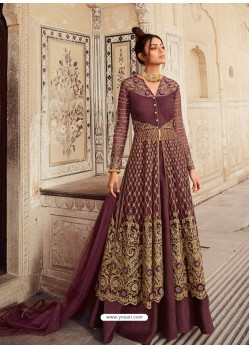 Deep Wine Latest Heavy Designer Party Wear Anarkali Suit