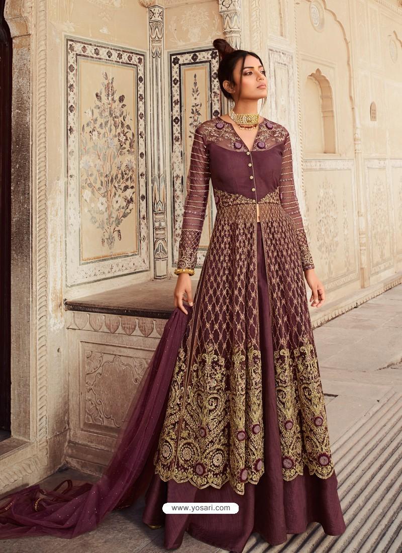 Deep Wine Latest Heavy Designer Party Wear Anarkali Suit