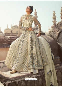 Off White Latest Heavy Designer Party Wear Anarkali Suit