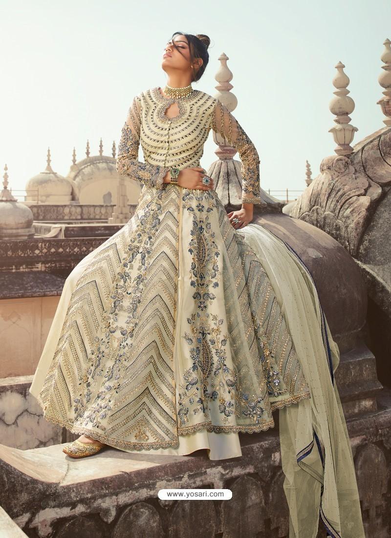 Off White Latest Heavy Designer Party Wear Anarkali Suit
