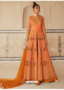 Orange Latest Heavy Designer Party Wear Anarkali Suit