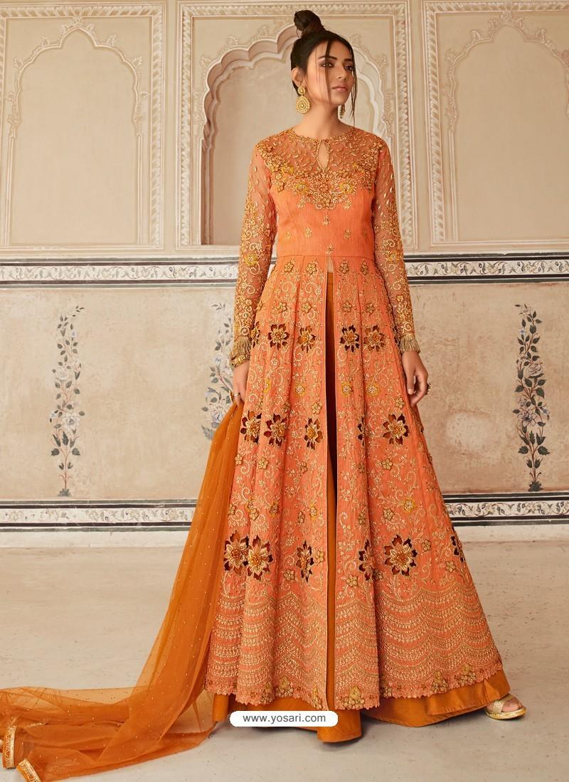 Orange Latest Heavy Designer Party Wear Anarkali Suit