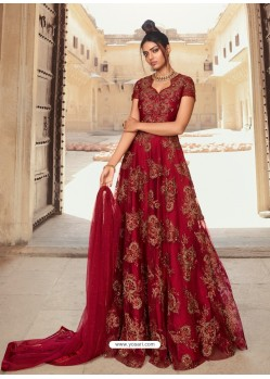 Maroon Latest Heavy Designer Party Wear Anarkali Suit