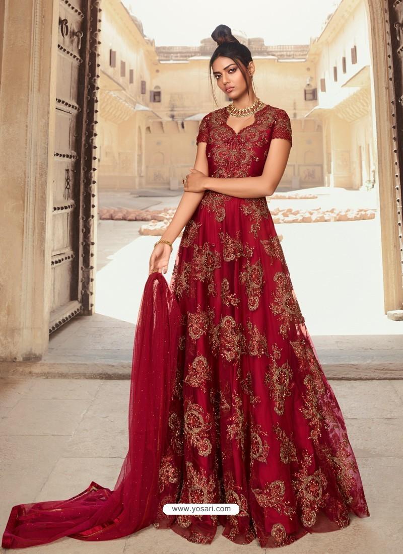 Maroon Latest Heavy Designer Party Wear Anarkali Suit