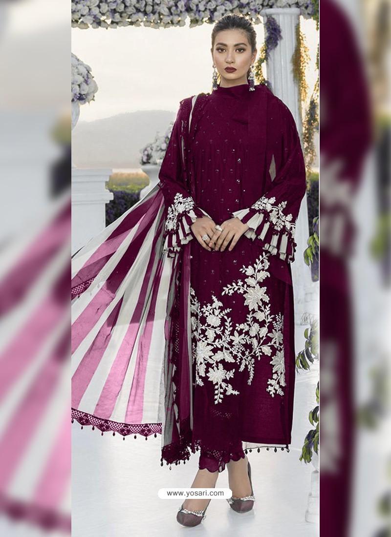Medium Violet Party Wear Designer Heavy Net Pakistani Suit