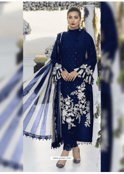 Dark Blue Party Wear Designer Heavy Net Pakistani Suit