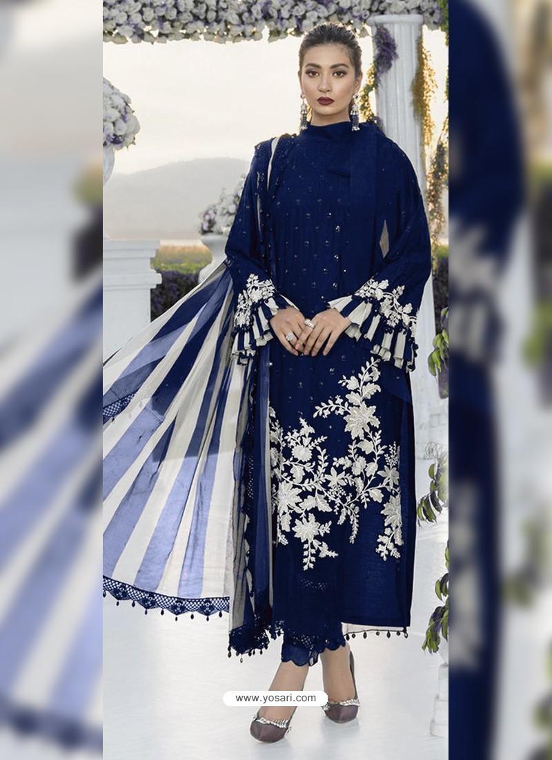Dark Blue Party Wear Designer Heavy Net Pakistani Suit