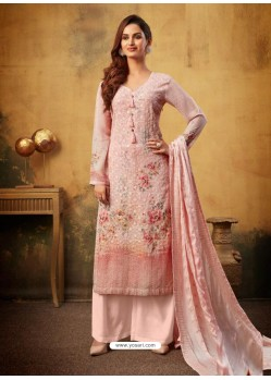 Dusty Pink Designer Viscose Bemberg Georgette Party Wear Palazzo Salwar Suit